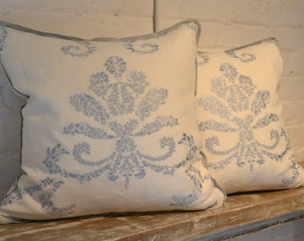 Travers Pale Blue Embroidered
