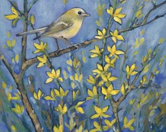 Yellow Warbler on Forsythia Print, bird art