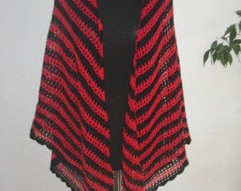 large red black shawl