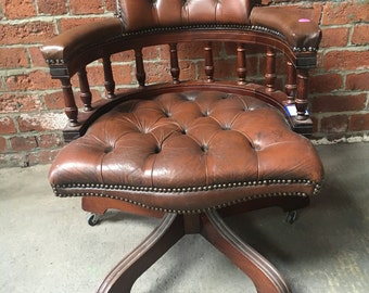 Brown Chesterfield Leather Captains Office Chair