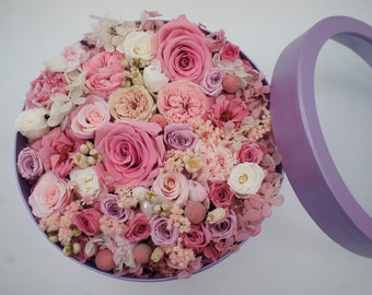 PINK RUSH Preserved Flowers Box