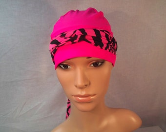 Breast cancer cap and black and pink scarf wide band snug fit.