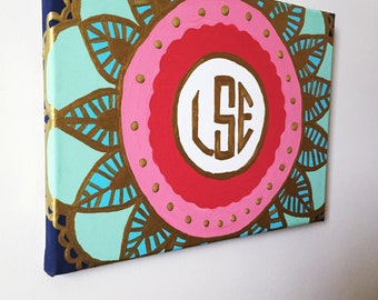 Hand painted Monogram Mandala Canvas