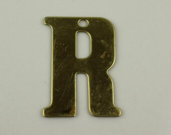 Raw Brass Alphabet Letter R Pre-Drilled Finding Stamping
