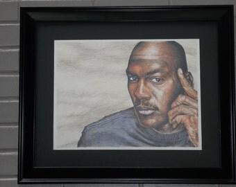 "Michael Jordan  ""Off Court"" 16x20 original colored pencil"