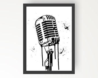 Vintage Microphone Black & White Ink illustration - Digital Print Poster - A4, A3