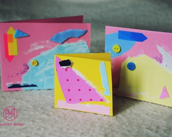 Fresh collection of 3 handmade paper postcards, painted cardboard, collage, abstract forms