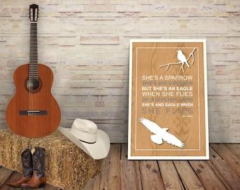 Dolly Parton - Lyric Poster Print - Eagle When She Flies