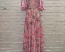 70s silk chiffon floral dress