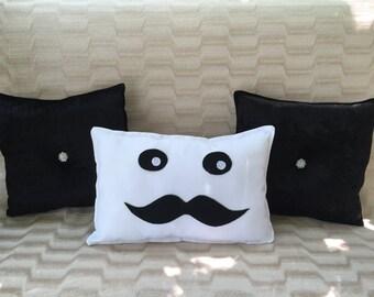 Kawaii Face Mustache Decorative Decor Throw Pillow Handmede with Love