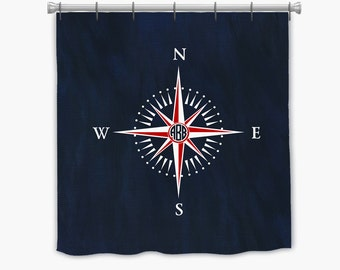 Nautical Compass Personalized Shower curtain Monogrammed with your initials. Many colors available