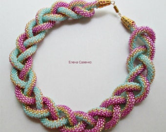Beaded Crochet Necklace, Beaded Crochet Rope, Spiral Beaded Necklace, Choker, Lariat Crochet