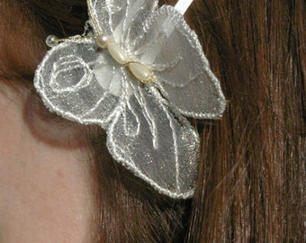 Hair butterflies on clips. Machine embroidered butterfly. Bridal hair clips, Boho hair clips, Bridesmaids hair clips, Wedding hair clips