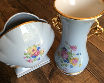 Pair of Vintage Abingdon Blue Vases Collectible Set of Vases American China Collection