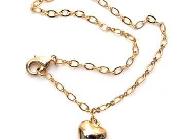 Anklet with gold heart
