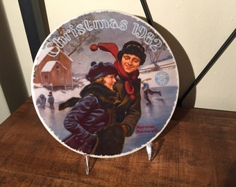 """Christmas 1982 Norman Rockwell Plate entitled """"Christmas Courtship"""""""