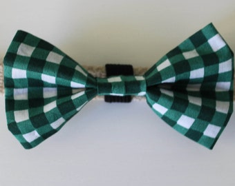 Green Check Dog Bow Tie