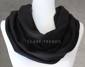 Black Infinity Scarf, Summer Infinity Scarf, Infinity Scarf, Fashion Accessories, Black Scarf, Lightweight Year-round Scarf, Trendy Scarf