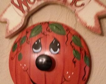 Pot Lid pumpkin wall sign