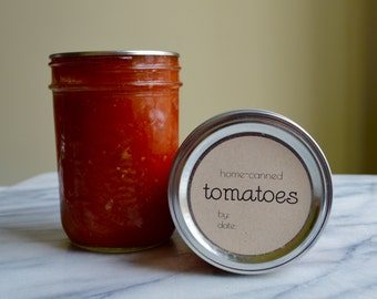 """Instant Download """"Home-Canned Tomatoes"""" Mason Jar // Canning Jar Labels // 2 inch and 2.5 Inch // Printable"""