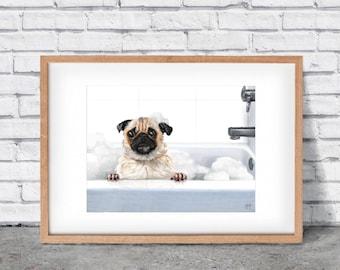 Suds: iPad Pro Painting, Pug, Dog, Bathtub, Bathroom, Bubbles and Suds, Bath, Paper, Digital, Illustration, Print, Wall Art