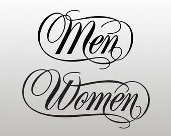 Restroom / Bathroom / Toilet Vinyl Decals / Stickers - Men - Women (set of 2)