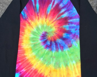 Multicoloured bright rainbow spiral tie dye baseball top hippie pride festival clothing