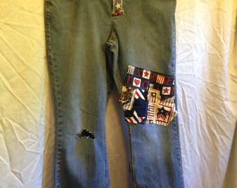 Upcycled Jeans with appliqued American patchwork