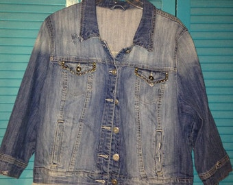 Upcycled Jean Jacket w/studs,embroidery and lace