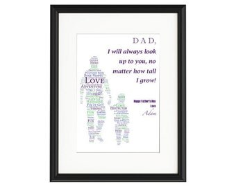 Father and Child Typography Personalised Print