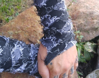 Fuzzy argyle fingerless gloves , punk rock arm warmers, cosplay, goth, gothic arm cuff, medieval costume gloves by The punk rock Boutique