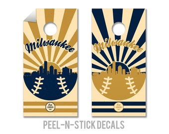 Milwaukee Brewers Cornhole Board Decals