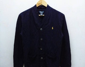 Hot Sale!!! Rare Vintage 90s POLO RALPH LAUREN Small Pony Cardigan Hip Hop Swag Small Size