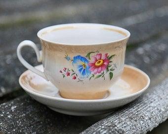Vintage mug Rustic cup Tea Cup Ceramic cup with saucer Floral Cups Floral Porcelain Soviet porcelain flower décor shabby chic cup Soviet cup