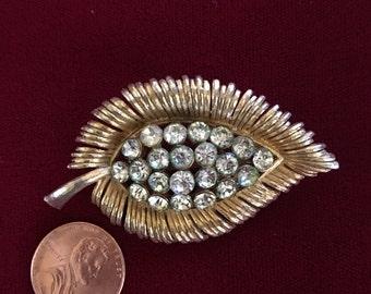 Vintage Gold Tone Rhinestone Leaf Brooch