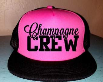 Champagne Crew Trucker Hat Bridal Party Snapback Custom Trucker Bachelorette party Hat Wedding Party Trucker Bridal Party Hat Champagne Hat