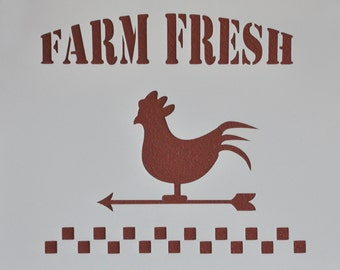 Farm Fresh Old Farm Sign Rooster Chicken Stencil Template Scrapbooking