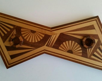 Retro Atomic Taper Inlayed Wood Candle Holder