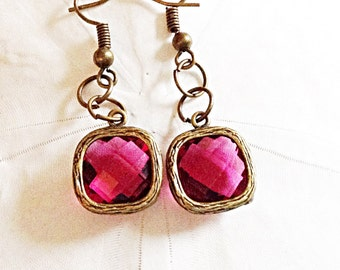 Deep Pink Faceted Glass Earrings