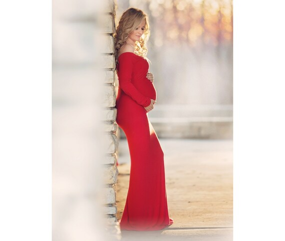 Fitted Maternity Gown for Shoot Long Maternity