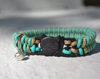 Fishtail Paracord NON-ADJUSTABLE Cat Collar (Break-Away Buckle), Breakaway Collar, Bell Cat Collar, Kitten Collar, Simple Cat Collar