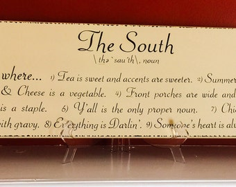 The South Wooden Hanging Sign 8 x 26