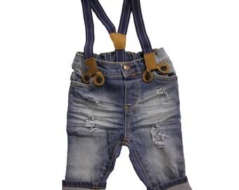 Jacob Distressed Derby Wash Suspender Jeans Distressed Denim for Infants, Babies, Toddlers, Boys Skinny Jeans