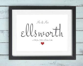 Personalised Wedding Family Name Print Gift Bespoke Unique Present Celebration Congratulations Marriage Anniversary