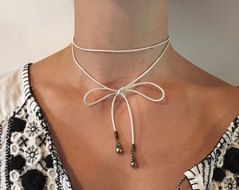 KATE skinny leather cord choker lariat necklace