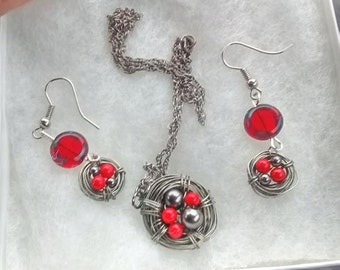 Bird Nest Earrings and Necklace