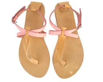 Leather sandals, Greek sandals, Pink sandals, Thong sandals, Greek leather sandals, Summer flats, Womens sandals, Danae sandals