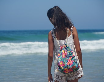 Beachy Watermelon and Hibiscus Flower drawstring beach pillow bag/backpack!