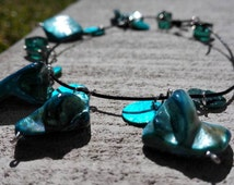 The Aqua Lover Bracelet.  Polished Turquoise Minerals & Aqua Beads.  Genuine Leather Bracelet.