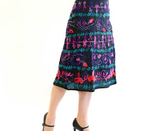 Embroidered skirt Egwene A-shaped, turquoise, pink, purple, one of a kind